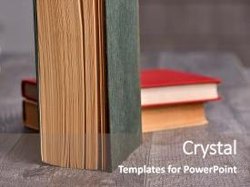 Slide deck consisting of stack of colorful books education background education business concept book shop background and a gray colored foreground