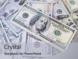 Beautiful PPT theme featuring fake - stack of money heap backdrop and a light gray colored foreground.