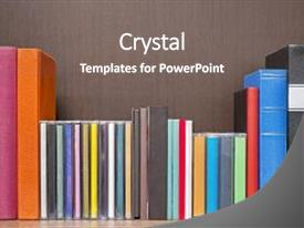 ppt theme with cd cover stack of new colorful books background and a gray colored
