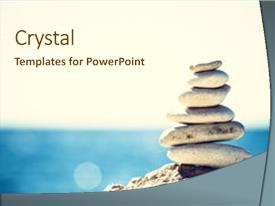 Beautiful slide deck featuring hierarchy - stack over blue sea background backdrop and a cream colored foreground.