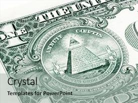 Slides consisting of stacked u s one 1 dollar bill in a macro shot super macro close up photo eye of providence all-seeing eye of god mason illuminati logo pyramid triangle great seal background and a light gray colored foreground.