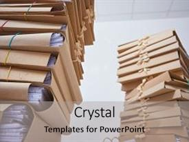 Theme having stacks of paper files background and a light gray colored foreground.