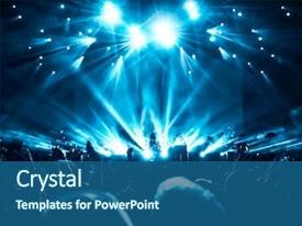 Presentation design with star - silhouettes of concert crowd background and a ocean colored foreground