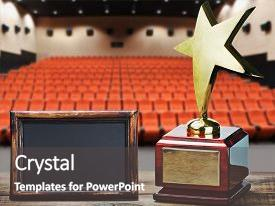 PPT layouts featuring star award for service background and a dark gray colored foreground.