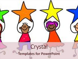 Presentation design consisting of stars of achievement - toddler art background and a lemonade colored foreground.