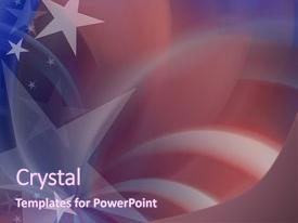 Presentation featuring stars on red white blue background and a violet colored foreground.