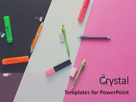 Cool new PPT theme with stationery supplies and devices on pop art background top view flat lay mockup of creative work space at modern office with markers rubbers pens scissors and binder clips backdrop and a  colored foreground.