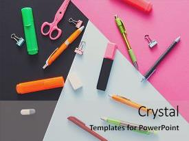 Beautiful PPT layouts featuring stationery supplies and devices on pop art background top view flat lay mockup of creative work space at modern office with markers rubbers pens scissors and binder clips backdrop and a  colored foreground.