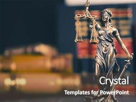 PPT theme featuring statue of justice - lady justice background and a tawny brown colored foreground.