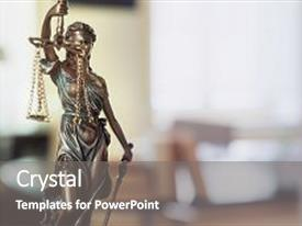 Presentation design enhanced with statue of justice - lady justice background and a gray colored foreground.
