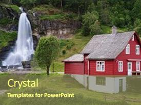 Amazing PPT layouts having most popular waterfalls in norway backdrop and a tawny brown colored foreground