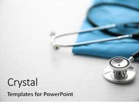 PPT layouts consisting of stethoscope and medical equipment background and a white colored foreground