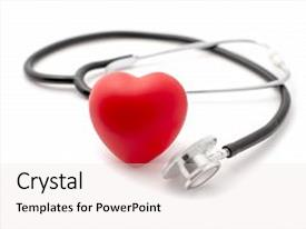 Cool new PPT theme with stethoscope around a red rubber heart on a white background concept of health healthy heart or cardio examination backdrop and a lemonade colored foreground.