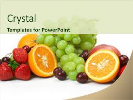 PPT layouts enhanced with still-life of fresh fruit background and a soft green colored foreground.