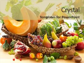 PPT layouts consisting of still life with autumn vegetables background and a yellow colored foreground.