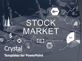 Presentation theme enhanced with stock market finance financial issues background and a dark gray colored foreground