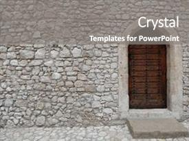 Slide deck enhanced with medieval - stone wall of an ancient background and a gray colored foreground.
