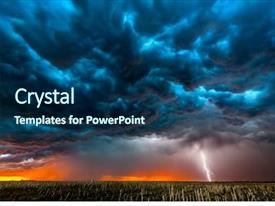 Cool new slide deck with storm shoots bolt of electricity backdrop and a ocean colored foreground