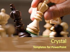 PPT theme with strategy - playing wooden chess pieces background and a red colored foreground