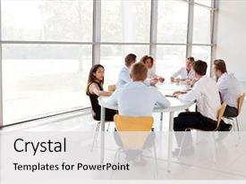 Beautiful theme featuring strategy - young business professionals in team backdrop and a white colored foreground