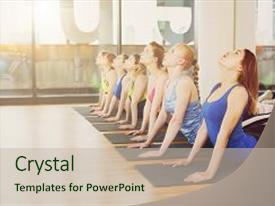 PPT layouts with stretching exercise back stretching health background and a soft green colored foreground.