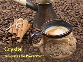 Amazing presentation theme having strong fragrant cooked coffee with foam a coffee drink in a cup a cup of coffee on coffee beans freshly brewed coffee in a pot cinnamon near the cup with coffee and cezve on the grains backdrop and a tawny brown colored foreground.