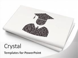 Colorful slides enhanced with graduation - student icon on blank newspaper backdrop and a light gray colored foreground