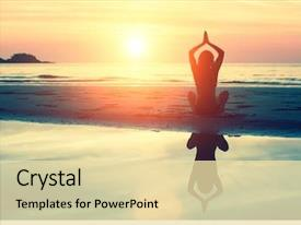 Beautiful presentation theme featuring stunning sea and sunset yoga backdrop and a blonde colored foreground