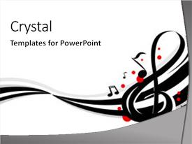 Amazing PPT theme having stylish design of music notes backdrop and a white colored foreground.