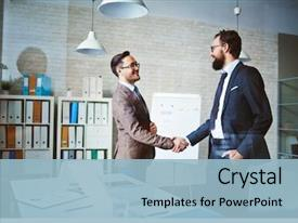 Cool new presentation theme with success - successful businessmen handshaking after negotiation backdrop and a light blue colored foreground