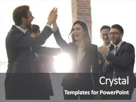 Theme having success - successful woman leading a business background and a dark gray colored foreground