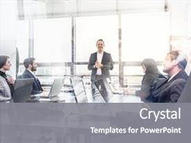 Colorful presentation theme enhanced with successful team leader and business backdrop and a gray colored foreground.