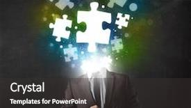Presentation design enhanced with suit with glowing puzzle background and a dark gray colored foreground