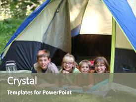 Slide deck consisting of summer camp - group of kids in tent background and a gray colored foreground.