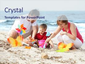 PPT theme with summer fun - young happy family background and a sky blue colored foreground.