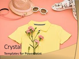 PPT layouts featuring floral - summer hipster style design spring background and a yellow colored foreground.