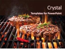 Presentation design featuring summer sizzle - beef steaks sizzling background and a light gray colored foreground