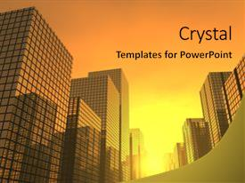 Amazing presentation theme having sunset in a modern city backdrop and a gold colored foreground.