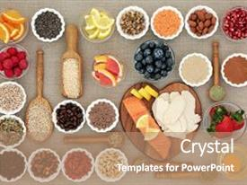 Presentation theme enhanced with super food for healthy dieting including fish and meat fruit pulses nuts cereals and grains with herbs used as appetite suppressants high in protein omega 3 antioxidants fibre and vitamins background and a coral colored foreground.