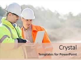 PPT theme consisting of supervisors using laptop at construction background and a lemonade colored foreground