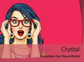 Presentation design consisting of surprised pop art girl background and a red colored foreground.