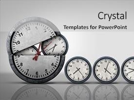 PPT layouts having clock - symbol for increase of business background and a light gray colored foreground.