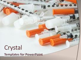 Presentation theme consisting of syringes for insulin injection medical background and a  colored foreground.
