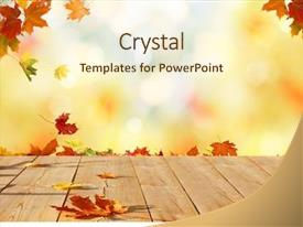 Slide deck featuring table falling leaves natural background background and a cream colored foreground