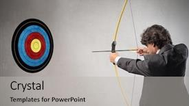 Beautiful PPT theme featuring target with bow and arrow backdrop and a light gray colored foreground