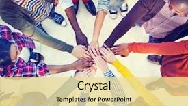 Cool new presentation theme with team - diverse and casual people backdrop and a blonde colored foreground