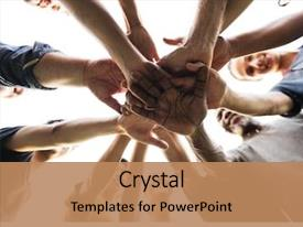 PPT theme having team - diverse group of people hands background and a coral colored foreground