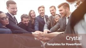 Presentation theme featuring team - large group of business people background and a violet colored foreground