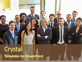 PPT theme enhanced with team - portrait of multi-cultural office staff background and a tawny brown colored foreground