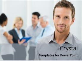 Audience pleasing slide deck consisting of team leader - portrait of young handsome businessman backdrop and a light gray colored foreground